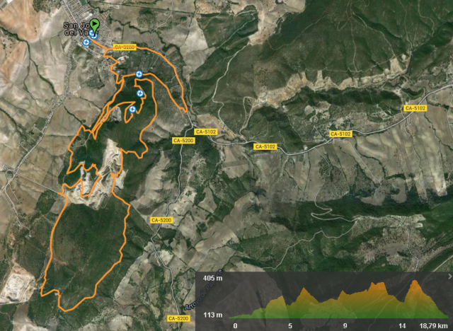 recorrido y perfil trail san jose del valle